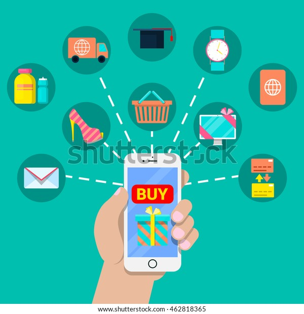 Mobile Payment Financial Concept with Smartphone and Different Services. Vector illustration