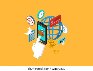 Mobile payment flat 3d isometric design concept touch phone wallet money checkout transfer credit card vector web banners illustration print materials website click infographics elements collection