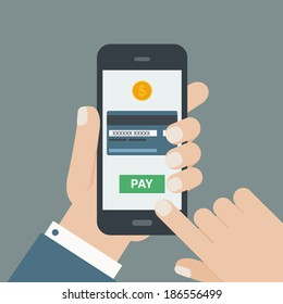 mobile payment, hand holding phone, flat design