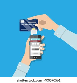 Mobile payment illustration. Vector flat style illustration. Mobile payment machine, online payment, cashless payment.