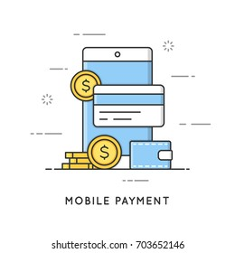Mobile payment, online transactions and banking. Flat line art style concept. Vector banner, icon, illustration. Editable stroke.