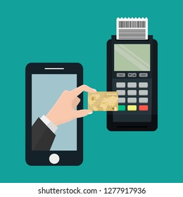 Mobile payment using smartphone connected dataphone.POS terminal confirms the payment made through mobile phone. NFC payments in a flat style.