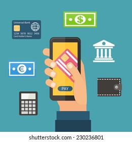 Mobile payment via smartphone, online banking, shopping, wallet, e-commerce. Flat design vector.