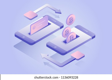 Mobile payments concept of transfer bitcoin, money from card. Cryptocurrency and blockchain technology. 3d isometric bitcoin transaction, e-commerce. Vector illustration.