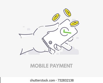 Mobile payments. Hand holding a phone with falling coins. Vector flat line illustration design.