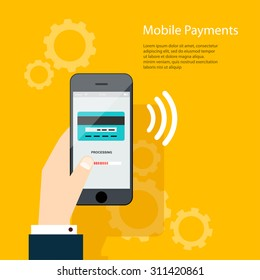 Mobile Payments. Man holding phone. Vector illustration of modern smartphone with processing of mobile payments from credit card on the screen.