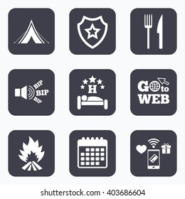 Mobile payments, wifi and calendar icons. Food, sleep, camping tent and fire icons. Knife and fork. Hotel or bed and breakfast. Road signs. Go to web symbol.