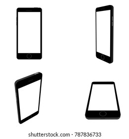 Mobile phone 3d . Vector image of the Smartphone from different angles and perspectives . The view from the top , side and tilted the phone