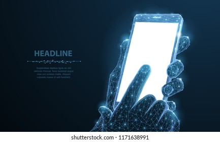 Mobile phone. Abstract polygonal wireframe closeup mobile phone with blank white empty screen in holding man hand and fingers. Illustration dark blue background. Communication app smartphone concept