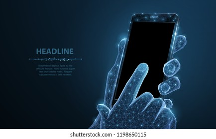 Mobile phone. Abstract polygonal wireframe closeup mobile phone with blank empty black screen in holding man hand and fingers. Illustration dark blue background. Communication app smartphone concept