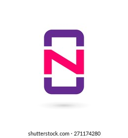 Mobile phone app letter N logo icon design template elements
