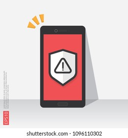 mobile phone with attention warning alert sign with exclamation mark symbol on screen. shield line icon for Internet VPN Security protection Concept vector illustration.