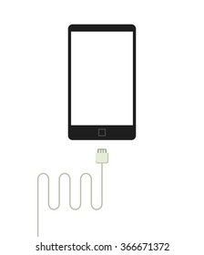 Mobile phone battery charger vector illustration, data cable connector mockup shape, smartphone silhouette in flat simple black and white style modern design isolated on white background