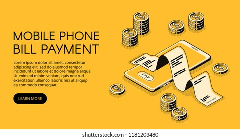 Mobile phone bill payment vector illustration of smartphone with money and invoice receipt. Online banking payment technology application in isometric black thin line on yellow halftone background