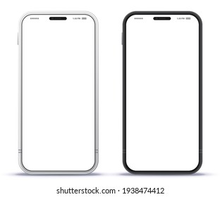 Mobile Phone Black and Silver Colored Design Concept. Vector Smartphone Mockup With Frameless White Screen. Isolated on Transparent Background.  - Shutterstock ID 1938474412