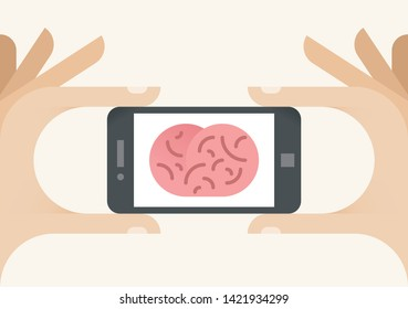 Mobile phone with brain on screen symbolizing modern digital center of technology (social networking, cloud computing, online games, shopping and entertainment, remote control etc.)
