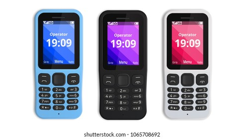 Mobile Phone with buttons isolated on white background. Brand new featurephone. Vector illustration.