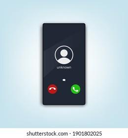 Mobile Phone Call Screen. Smartphone Interface UI. EPS10 Vector