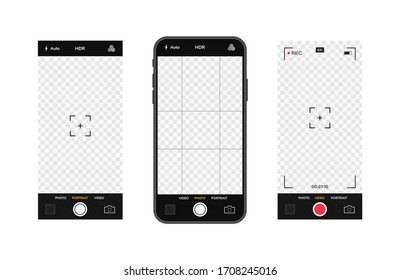 Mobile phone with camera interface. Mobile app application. Photo and video screen. Vector illustration graphic design.
