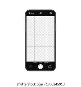 Mobile phone with camera interfase. Mobile app aplication. Photo and video screen. Vector illustation graphic design.