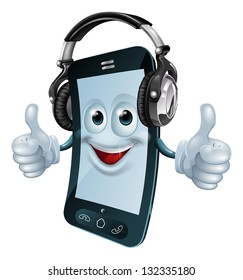 A mobile phone cartoon man with dj headphones on giving the thumbs up. Concept for a music phone app or similar.
