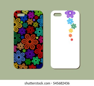 Mobile phone case design. Abstract decorative ornament. Vector graphics.