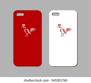 Mobile phone case design. Red rooster year style. Vector graphics.