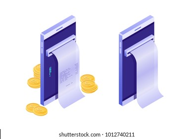 The mobile phone with the cash register receipt, Online cash desk, Electronic payment, Mobile purse, Notification on payment, smartphone with gold coin money isometric vector illustration