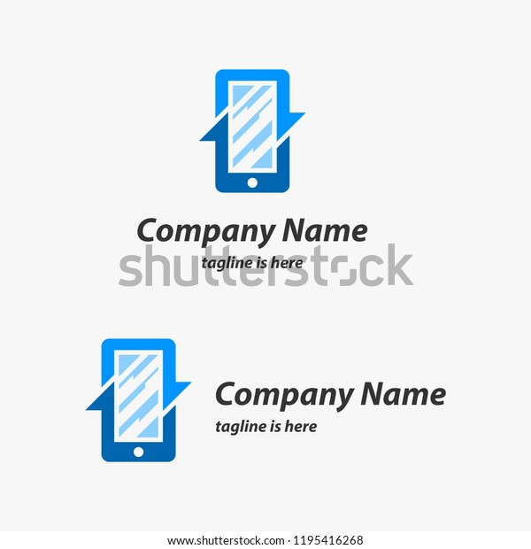 Mobile Phone Cellphone Repair Logo Design Stock Vector
