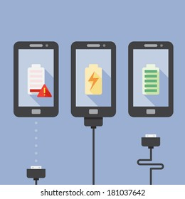 Mobile Phone Charging with icons