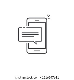 Mobile phone chat message notification vector icon isolated line outline art, smartphone bubble speech pictogram, concept of online talking, cellphone alert text message, conversation, dialog symbol