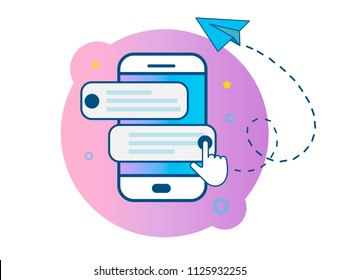 Mobile phone. Chat, notifications, messages. Smartphone and conversation speech bubble, online talk concept, dialogue. Post a paper airplane. Vector illustrations