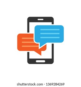 Mobile phone chat sign icon in flat style. Message notifications vector illustration on white isolated background. Smartphone text business concept.
