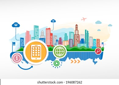 Mobile phone and cityscape background with different icon and elements.