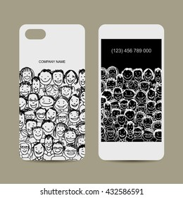 Mobile phone cover design. People crowd. Vector illustration