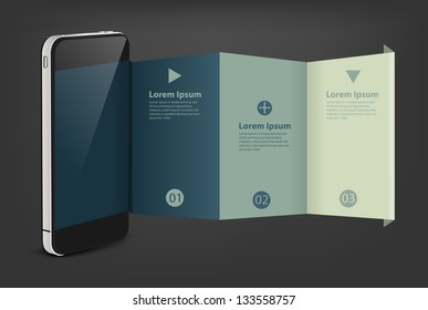 Mobile phone with creative folded paper modern template design, Vector illustration