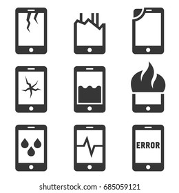Mobile Phone Damage Icon Set. Vector