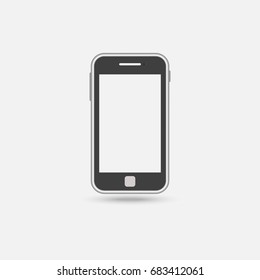 Mobile phone device blank screen on white background,vector illustration