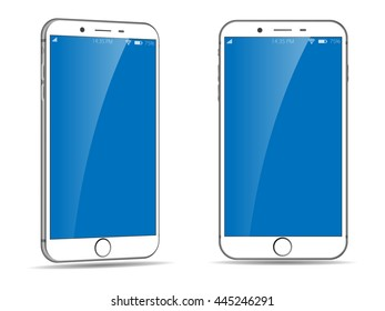 Mobile Phone with different views. Perspective view of smartphone. White Smartphone. Cellphone Vector Illustration.