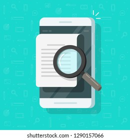 Mobile phone document analyzing vector, flat cartoon smartphone with magnifying glass researching data, concept of online audit analysis, electronic doc search, message review
