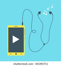 Mobile phone with earphones, flat cell phone with headphones and tunes
