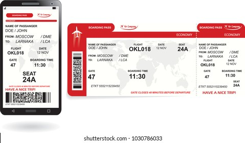 Mobile phone with electronic boarding pass airline ticket and paper boarding pass ticket. Concept of modern travel or journey. Vector illustration in red colors