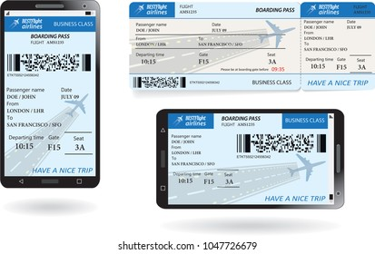Mobile phone with electronic boarding pass airline ticket and paper boarding pass ticket. Concept of modern travel or journey. Vector illustration in blue pastel colors