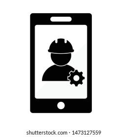 mobile phone  engineering.  phone repairing,  fix phone, support icon.