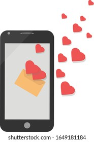 A mobile phone, an envelope from which hearts fly out, a love message. Vector illustration.