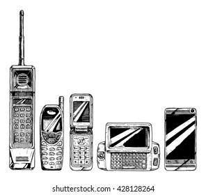Mobile phone evolution set. Vector illustration in ink hand drawn style. form factor: brick, bar,  flip, wide slider, touchscreen smartphone.