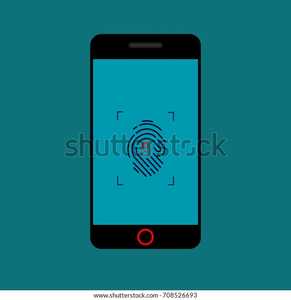 Mobile Phone Fingerprint Scanner Iconcomputer Data Stock Vector