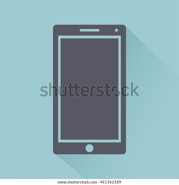 Mobile phone flat style icon with shadow, gadget isolated on light background, vector illustration for web design