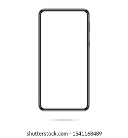Mobile phone frame for placing the image on the screen. Mockup smartphone with white screen. Smartphone The shape of a modern mobile phone is designed to place ad or images on the screen.
