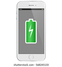 Mobile Phone With Full Battery Vector Illustration